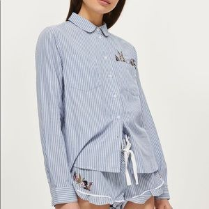 Topshop Bunny Embroidered Striped Button Up Shirt